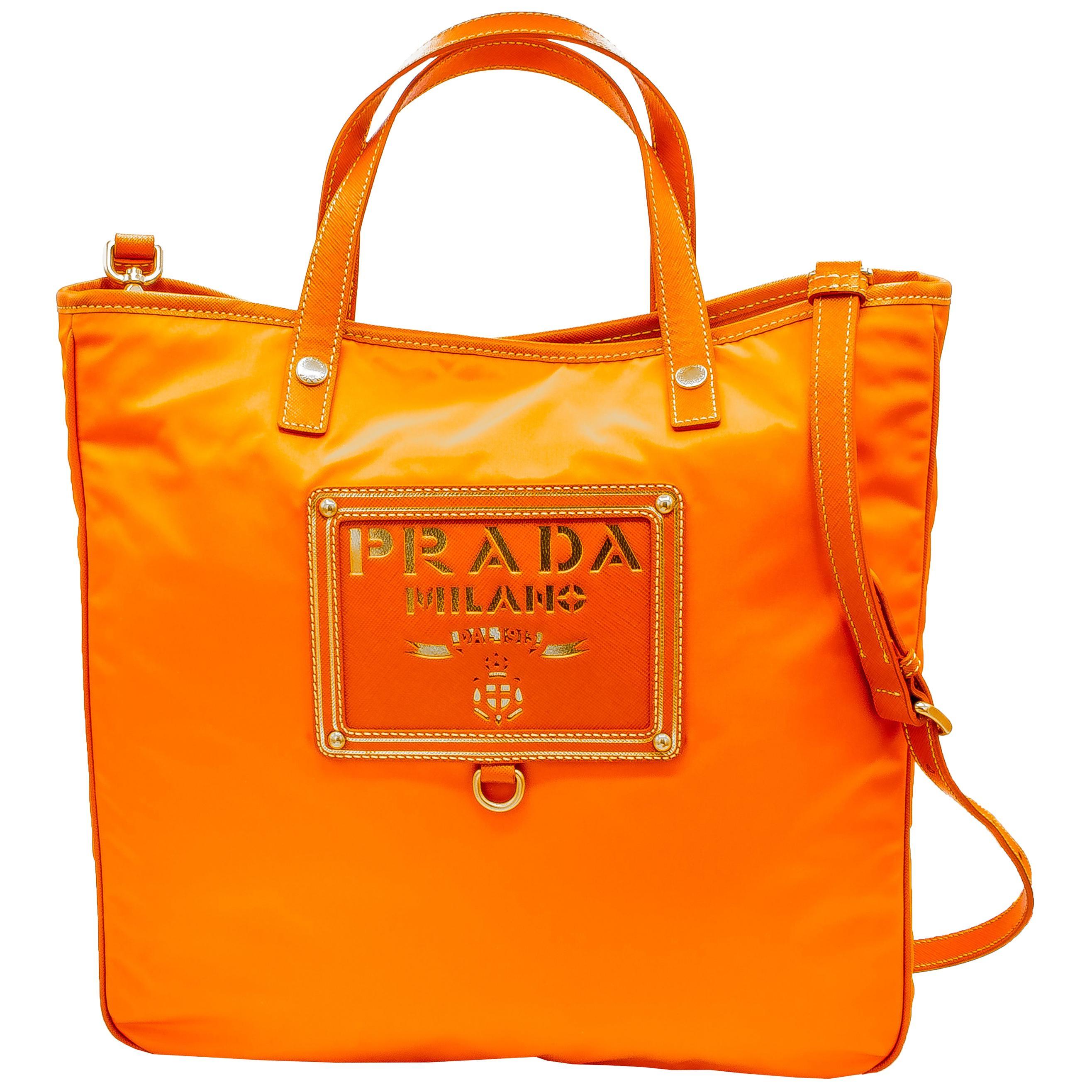 Bright Orange Prada Crossbody Beach Bag
