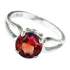 Bright Orange Spessartite Garnet in Sterling Silver Ring