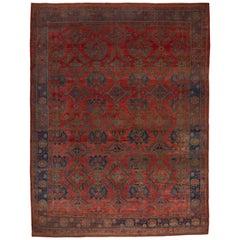 Bright Oversized Antique Oushak Carpet