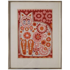 Bright Patchwork Collage in a Cat Motif