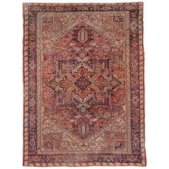 Bright Persian Heriz Carpet, Red Field