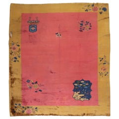 Bright Pink Art Deco Chinese Room Size Rug, 20th Century