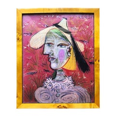 Bright Pink Picasso Print in Burl Wood Frame