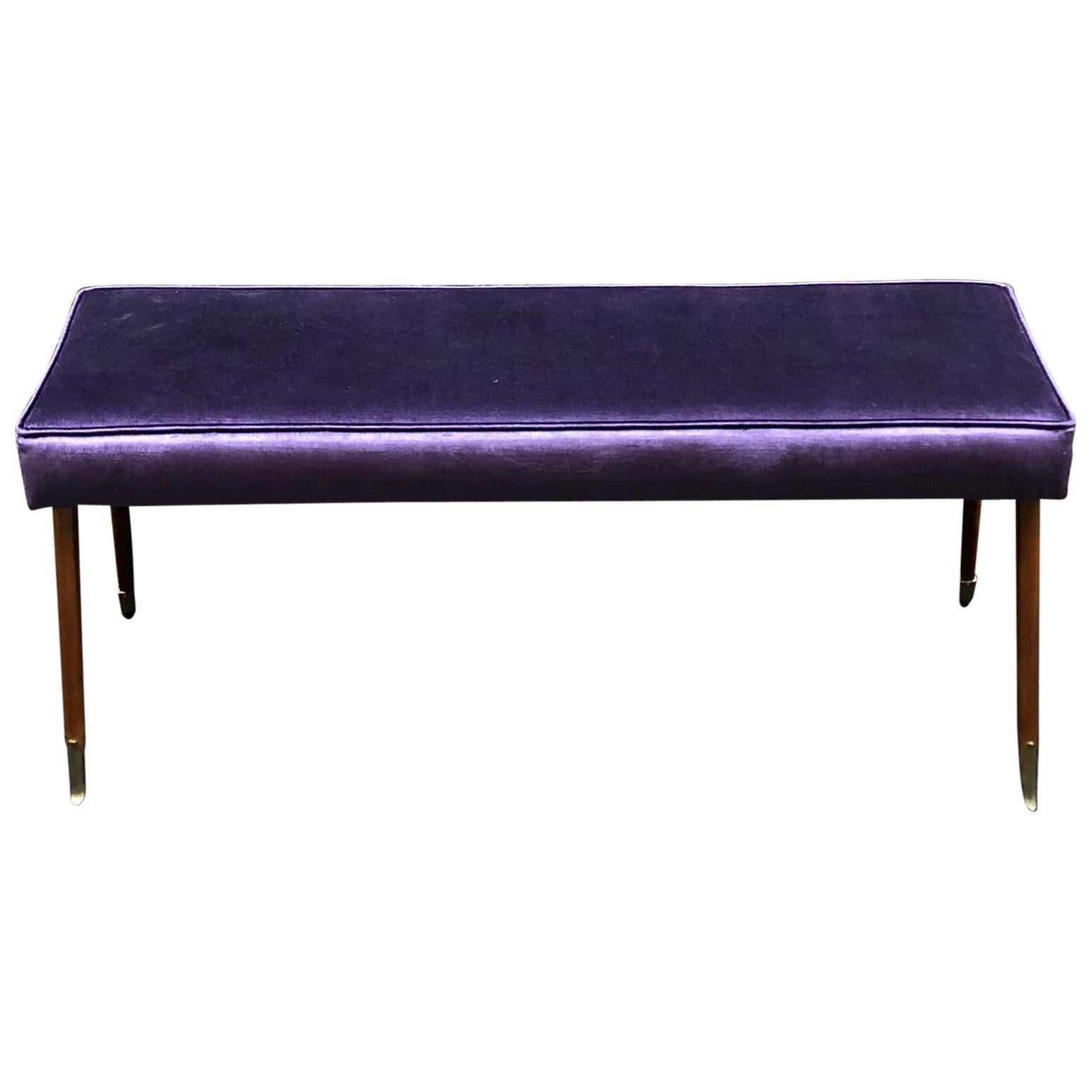 Bright Purple Velvet and Brass Ending Legs Bench from Italy from 1950s