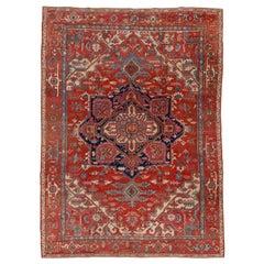 Bright Red Authentic Persian Serapi Carpet