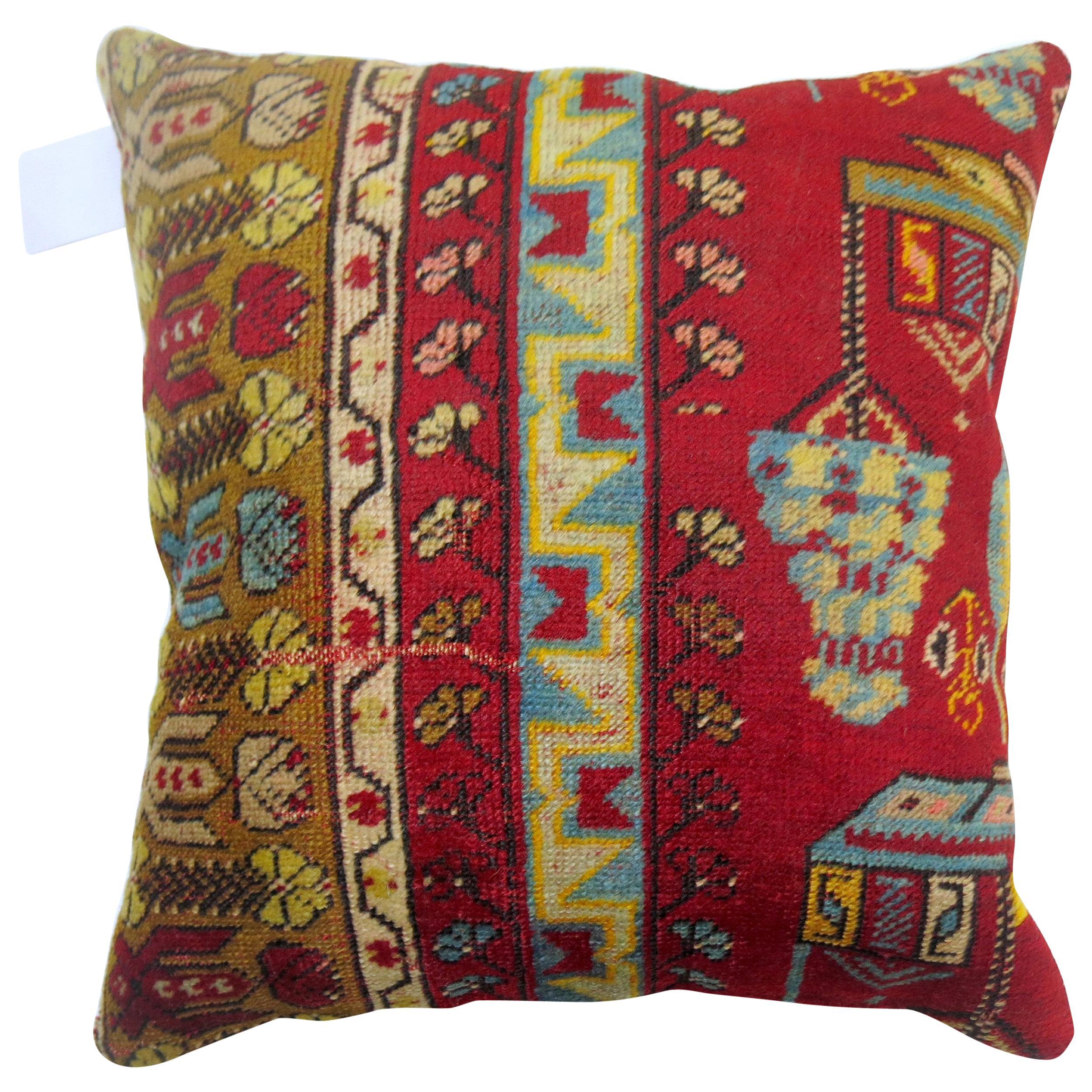 Bright Red Bohemian Turkish Rug Pillow