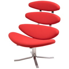 Bright Red EJ 5 Corona Chair by Poul Volther