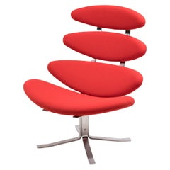 Bright Red EJ5 Corona Chair by Poul Volther