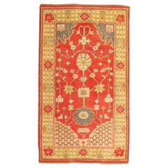 Bright Red Green Turkish Oushak Accent Size Rug