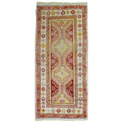 Bright Red Green Vintage Turkish Anatolian Throw Rug