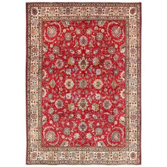 Semi Antique/Vintage Persian Tabriz Rug with All-Over Blossom Design