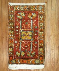 Bright Red Orange Turkish Wool Anatolian Small Throw Rug