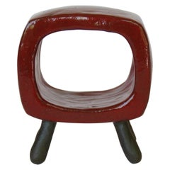 Bright Red Rectangular Ring on 4 Bare Brown Stoneware Legs, Ceramic Sculpture