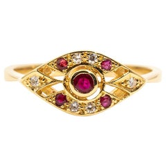 Bright Red Ruby and Diamond 18 Carat Gold Art Deco Style Ring