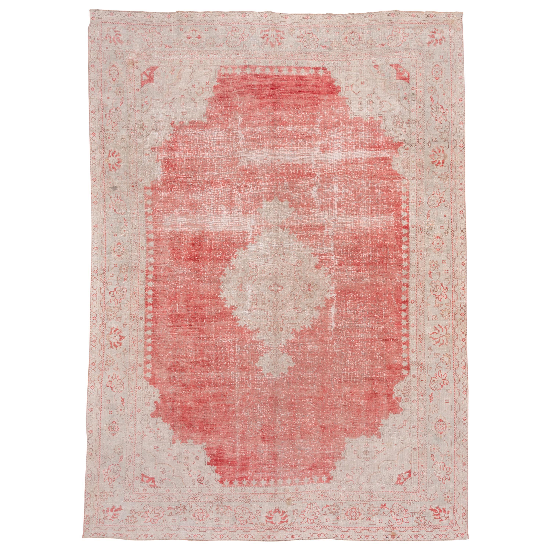 Bright Red Turkish Oushak Carpet, Ivory & Light Blue Borders, Lightly Distressed