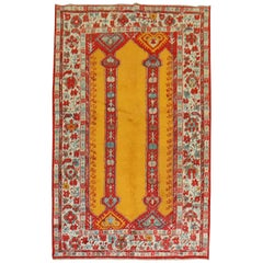Bright Saffron Antique Angora Oushak Rug, Early 20th Century