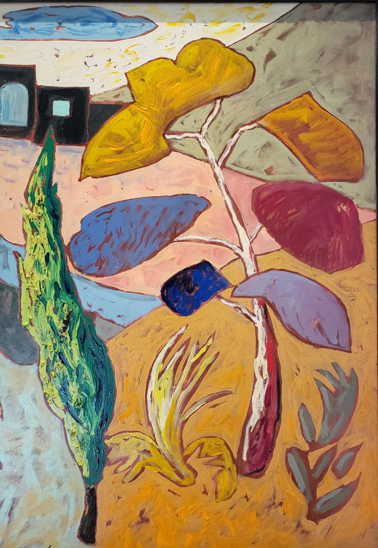Painted Bright Surreal Landscape Black House with Dancing Plants by Artist Jacques Lamy For Sale