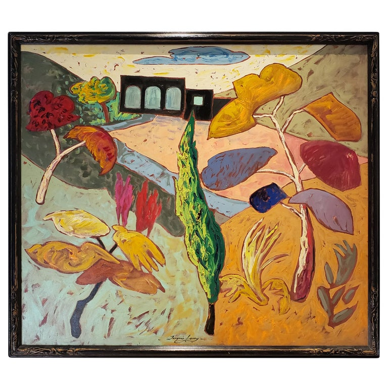 Bright Surreal Landscape Black House with Dancing Plants by Artist Jacques Lamy For Sale