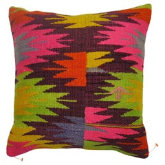 Bright Tribal Kilim Pillow in Pinks and Neon Green