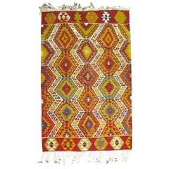 Bright Turkish Kilim Geometric Tribal Flat-Weave