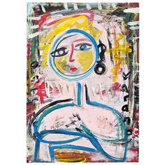 Brightly Colored Abstract Painting of a Woman Oil on Paper