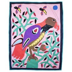 Brightly Colored Geometric Tropical Fabric Collage Tree of Life Parrot Tapestry