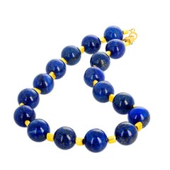 Brightly Glowing Lapis Lazuli and Goldy Nugget Necklace