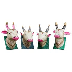 Brightly Painted Indian Holy Cow Wall Plaque, 20th Century