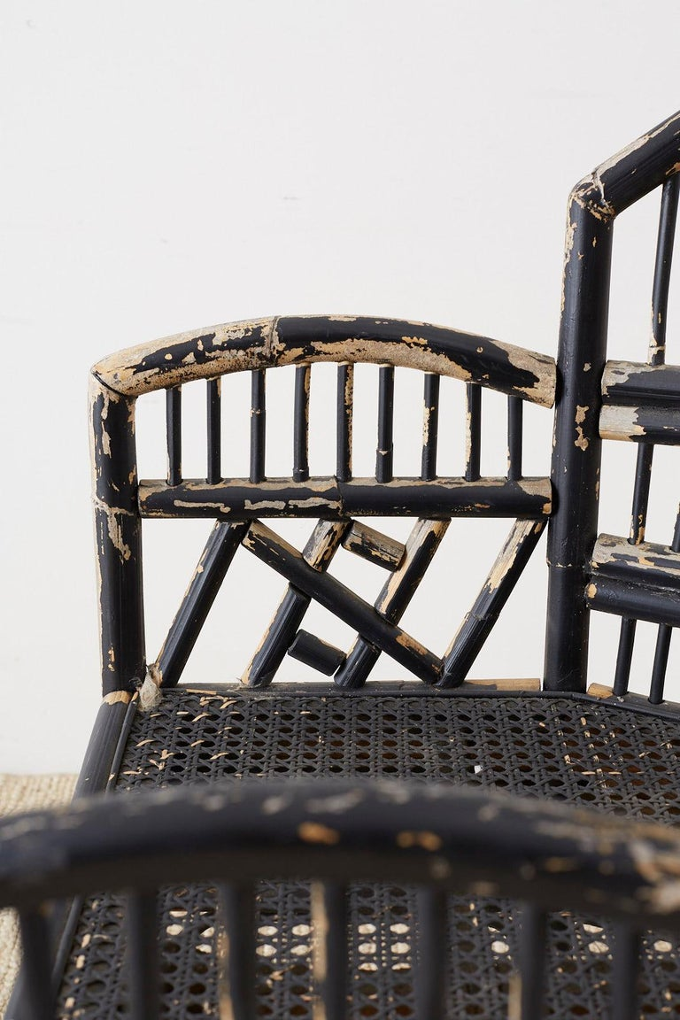 Brighton Bamboo Rattan Chinese Chippendale Lacquered Chairs For Sale 3