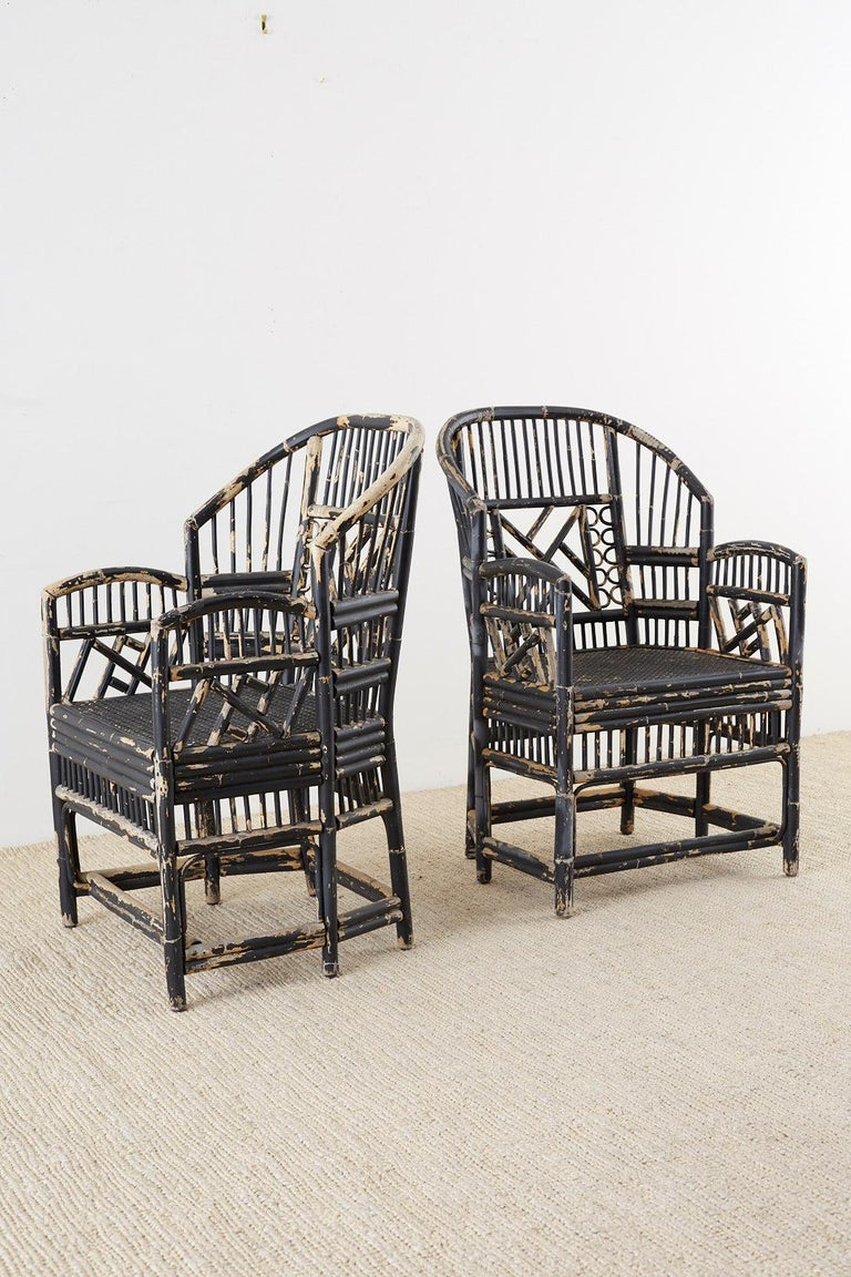 Brighton Bamboo Rattan Chinese Chippendale Lacquered Chairs For Sale 4