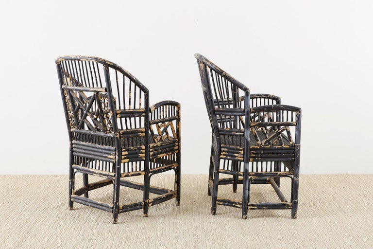 Brighton Bamboo Rattan Chinese Chippendale Lacquered Chairs For Sale 5