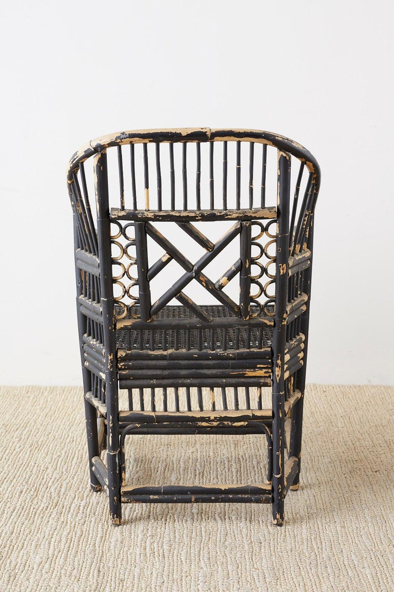 Brighton Bamboo Rattan Chinese Chippendale Lacquered Chairs For Sale 6