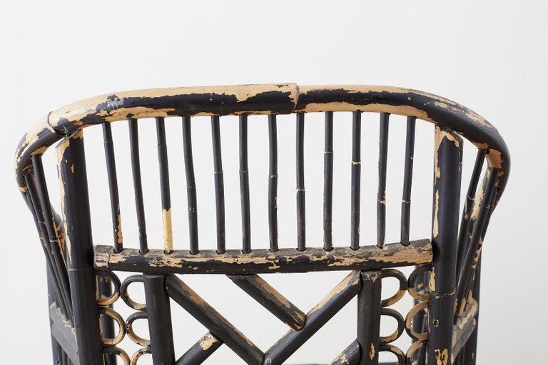 Brighton Bamboo Rattan Chinese Chippendale Lacquered Chairs For Sale 7