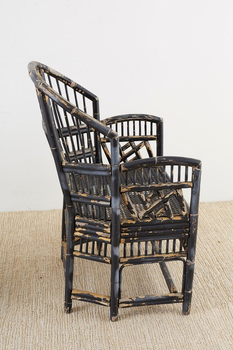 Brighton Bamboo Rattan Chinese Chippendale Lacquered Chairs For Sale 8