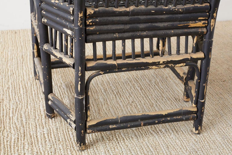 Brighton Bamboo Rattan Chinese Chippendale Lacquered Chairs For Sale 9