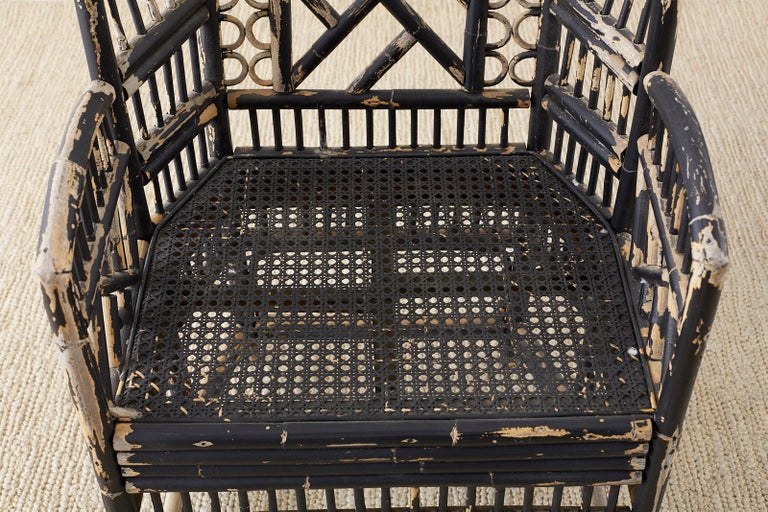 Brighton Bamboo Rattan Chinese Chippendale Lacquered Chairs For Sale 10