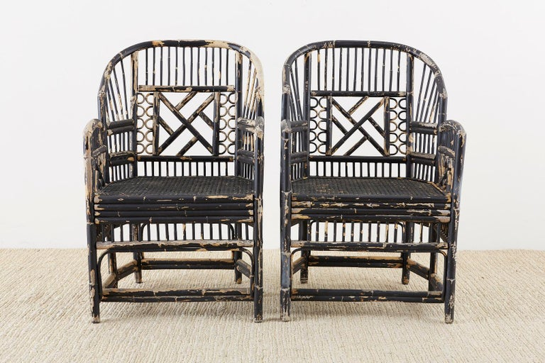 Hollywood Regency Brighton Bamboo Rattan Chinese Chippendale Lacquered Chairs For Sale