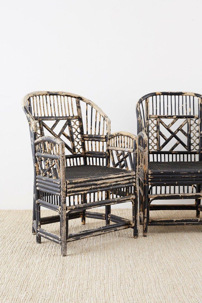 Asian Brighton Bamboo Rattan Chinese Chippendale Lacquered Chairs For Sale