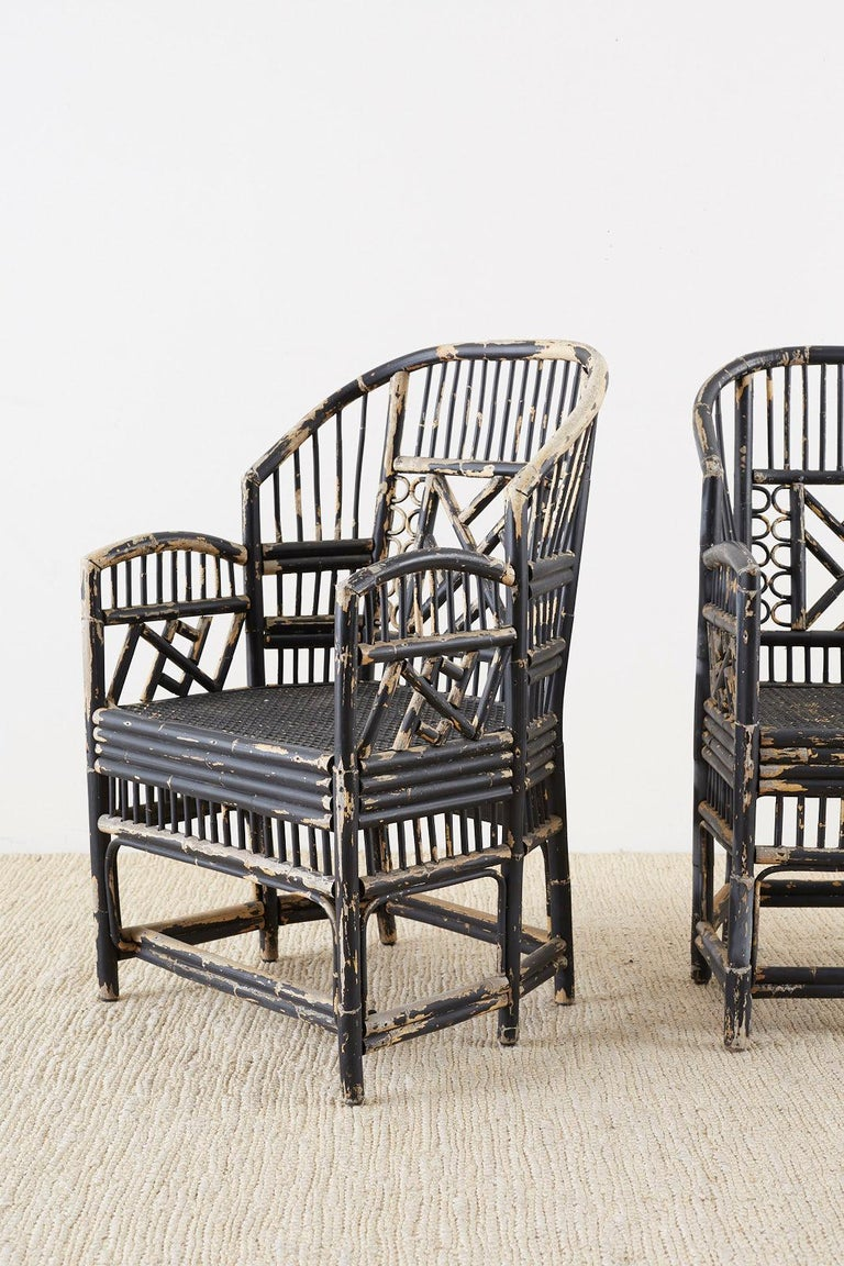 Hand-Crafted Brighton Bamboo Rattan Chinese Chippendale Lacquered Chairs For Sale