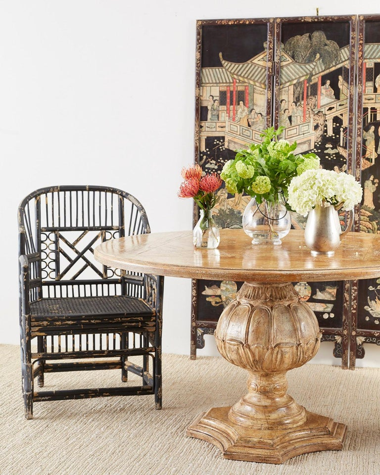 Brighton Bamboo Rattan Chinese Chippendale Lacquered Chairs In Good Condition For Sale In Oakland, CA