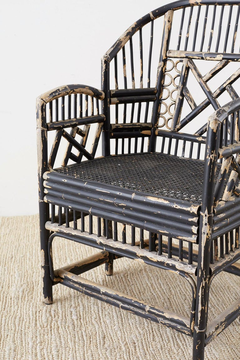 Brighton Bamboo Rattan Chinese Chippendale Lacquered Chairs For Sale 1