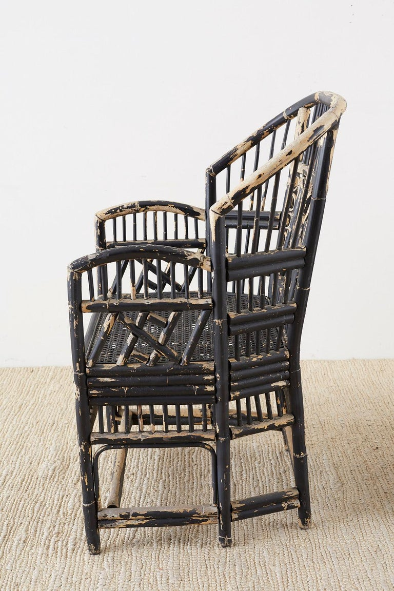 Brighton Bamboo Rattan Chinese Chippendale Lacquered Chairs For Sale 2
