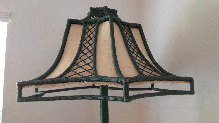 Brighton Inspired Wicker Floor Lamp For Sale 1