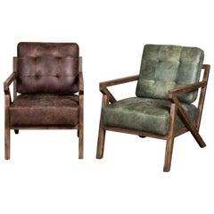 Brighton Leather Midcentury Z Lounge Chair, 20th Century