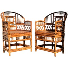 Brighton Pavilion Chinese Chippendale Style  Bamboo Rattan Armchairs