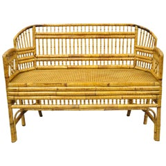 Brighton Pavilion Style Bamboo Rattan Settee Loveseat Chinese Chippendale