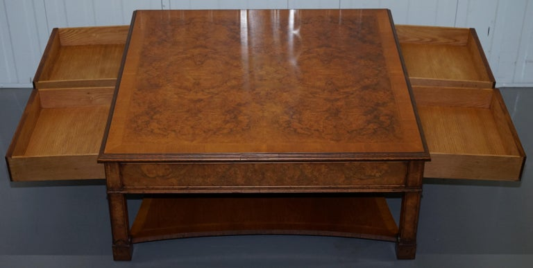 Brights of Nettlebed Burr Walnut Double Sided Four Drawer Coffee Table 11