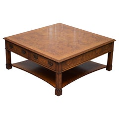 Brights of Nettlebed Burr Walnut Double Sided Four Drawer Coffee Table