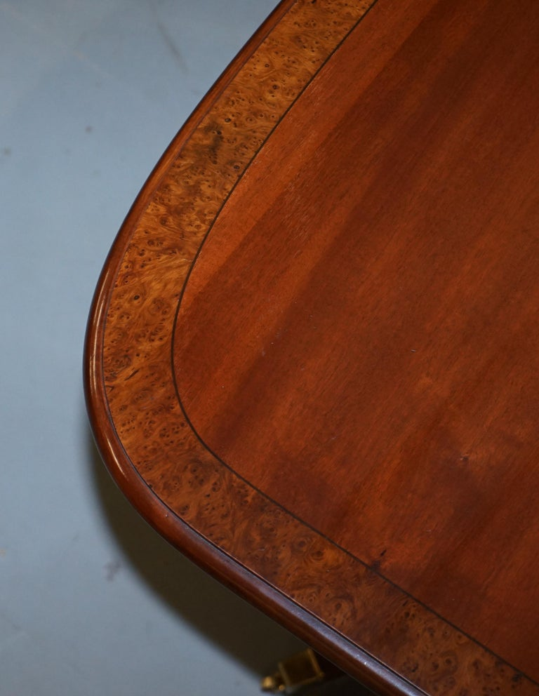 English Brights of Nettlebed Burr Walnut Regency Extending Dining Table Chairs For Sale
