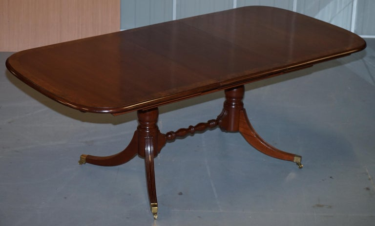 20th Century Brights of Nettlebed Burr Walnut Regency Extending Dining Table Chairs For Sale